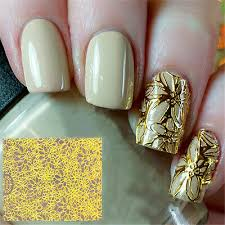 Embossed 3d Nail Stickers Tattoos Gold Blooming Flower Nail Decals Decoration Ebay