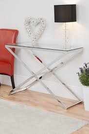 anikka console table chrome stand and