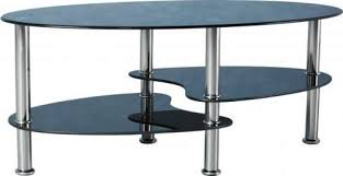 cara coffee table in black glass silver