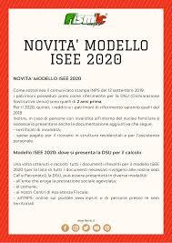 Novità Modello ISEE 2020 - Fismic