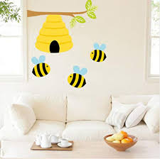 Honey Bumble Bee Hive Wall Art Decals Baby Girl Nursery Kids Room Stickers Decor