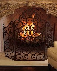 scroll wrought iron fireplace screen