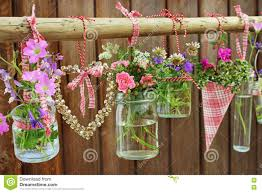 Flower Pots On Wooden Fence Stock Photo Image Of Post Hang 77849528
