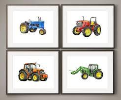 Colorful Farm Tractors Watercolor Print Set Etsy Boys Room Decor Boys Tractor Bedroom Tractor Room