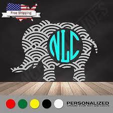Custom Elephant Monogram Vinyl Decal Pachyderm Sticker Your Initials 2 Or 3