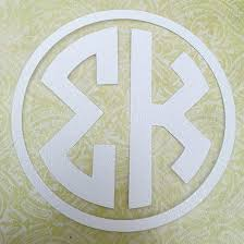 Sigma Kappa Sorority Letters White Circle Monogram Decal 6 Great Greek Gift Perfect For Car Window Bumper L Sigma Kappa Gifts Greek Gifts Circle Monogram