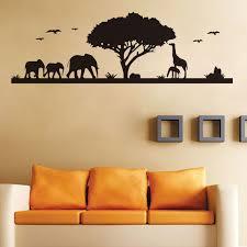 Animals Elephant Giraffe Wall Stickers Forest Vinyl Tree Decals Home Decor Living Room Wall Decal For Bedroom Wall Decals Tree Decalgiraffe Wall Sticker Aliexpress