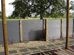 Used Corrugated Metal As Fencing Fence Ideas Gardens Paths Corrugated Fence Corrugated Me Corrugated Metal Fence Cheap Privacy Fence Privacy Fence Designs