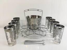 vintage kimiko silver glasses set of
