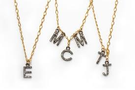 pave charm monogram necklace bella