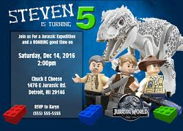 Lego Jurassic World Birthday Invitations Invitaciones De Lego