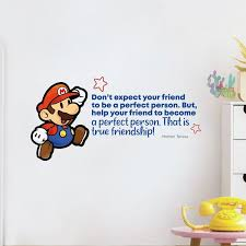 Design With Vinyl Friendship Super Mario Life Cartoon Quotes Decors Wall Sticker Art Design Decal For Girls Boys Kids Room Home Decor Wall Art Vinyl 8x10 Inch Wayfair