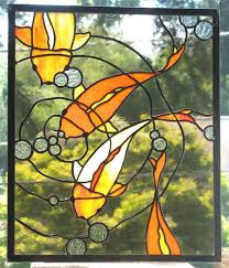 koi stained glass panel by
