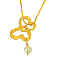 gold plated and shell pearl pendant