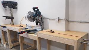 Miter Saw Station With Integrated Stop Block Drill Press And Extension Wing By Diymontreal Lumberjocks Com Woodworking Community