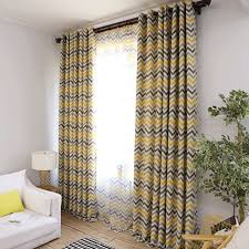 Blackout Curtains For Kids Bedroom Yellow Striped Printed Curtain Drapes With Sheer Voile Tulle For Bedroom Living Room W275 2 Curtains Aliexpress