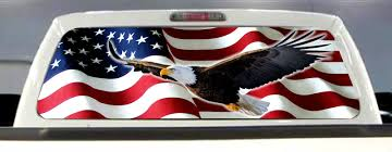 Product American Flag Eagle Pick Up Truck Rear Window Graphic Decal Perforated Vinyl