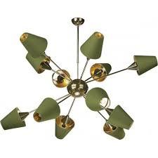 chandelier in brass with olive silk shades