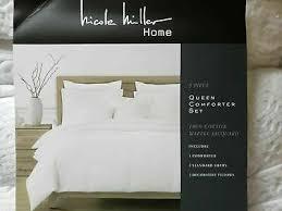 5 pc queen comforter set white jacquard