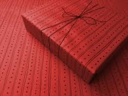 lines on red gothic wrapping paper