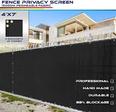 Amazon Com 4 X 7 Privacy Fence Screen In Black With Brass Grommet 85 Blockage Windscreen Outdoor Mesh Fencing Cover Netting 150gsm Fabric Custom Size Garden Outdoor