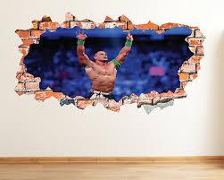 John Cena Smashed 3d Wall Decal Sticker Decor Removable Wwe Wall Art Mural Lt24 Ebay