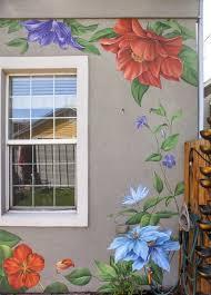 Murals Flower Wall Mural Garden Wall Art Simple Wall Paintings Flower Mural