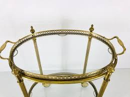 french brass and glass bar cart or
