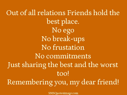 friends hold the best place friendship sms quotes image