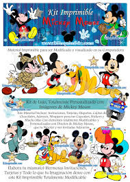 Kit Imprimible Micky Mouse Todo Para Tu Fiesta Elementos Para
