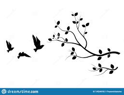 Flying Birds On Branch Birds Silhouette Birds On Tree Art Design Wall Art Wall Decals Stock Vector Illustration Of Vector Tree 135246542