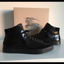 mens black leather high top sneakers