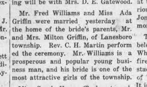Fred Williams & Ada Griffin marriage - Newspapers.com