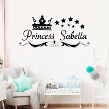 Stars And Crown Customized Name Wall Decals Personalized Baby Girls Children Art Home Decor Nursery Kids Room Wall Sticker Aliexpress