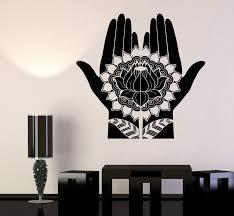 Vinyl Wall Decal Mehndi Decoration Beauty Girl Hands Henna Lotus Stick Wallstickers4you