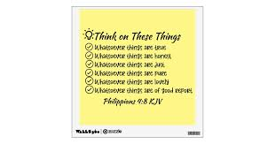 Think On These Things Philippians 4 8 Wall Decal Zazzle Com