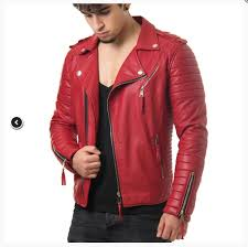 mens red leather jacket mens outerwear