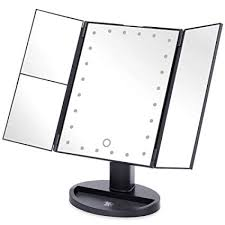 h s tri fold makeup mirror with lights