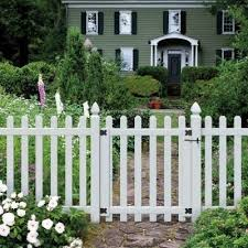 Veranda 3 1 2 Ft W X 4 Ft H White Vinyl Glendale Spaced Picket Fence Gate With 3 In Dog Ear Fence Pickets 181982 The Home Depot Picket Fence Gate Dog Ear Fence White Vinyl Fence