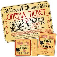 Movie Party Ticket Invitations Fiesta De Cine Fiesta De Pijamas