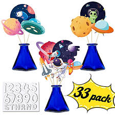 Outer Space Galaxy Table Centerpieces Decorations Astronaut Rocket Alien Photo Booth Props Wall Kids Room Decor Educational Toys Planet