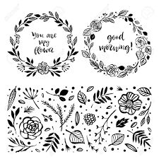 floral wreaths inspirational quotes botanical hand drawn