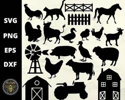 On The Farm Svg Bundle Farm Animals Tractor Barn Fence Mill Silhouettes Clipar Animals Barn Bundle Clipar In 2020 Tractor Barn Farm Animals Animal Silhouette