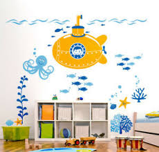 Submarine Nursery Wall Decal Stickers Underwater Ocean Fishes Wall Decal Ebay