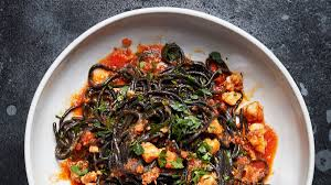 Squid Ink Pasta with Shrimp, Nduja, and ...