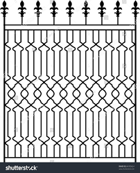 Wrought Iron Gate Door Fence Window Stock Vector Royalty Free 84709624