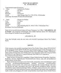contoh surat kuasa khusus perdata surat kuasa hukum pidana dan