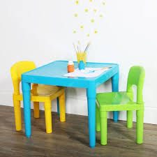Humble Crew Kids Plastic Table And 2 Chairs Set Aqua Green Yellow Walmart Com Walmart Com