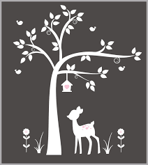 Forest Wall Decals White Tree Decal White Animal Decals Woodland Nurserydecals4you