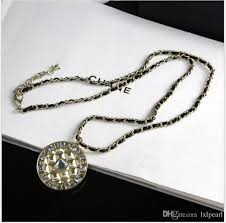 brass metal chain round diamond pendant